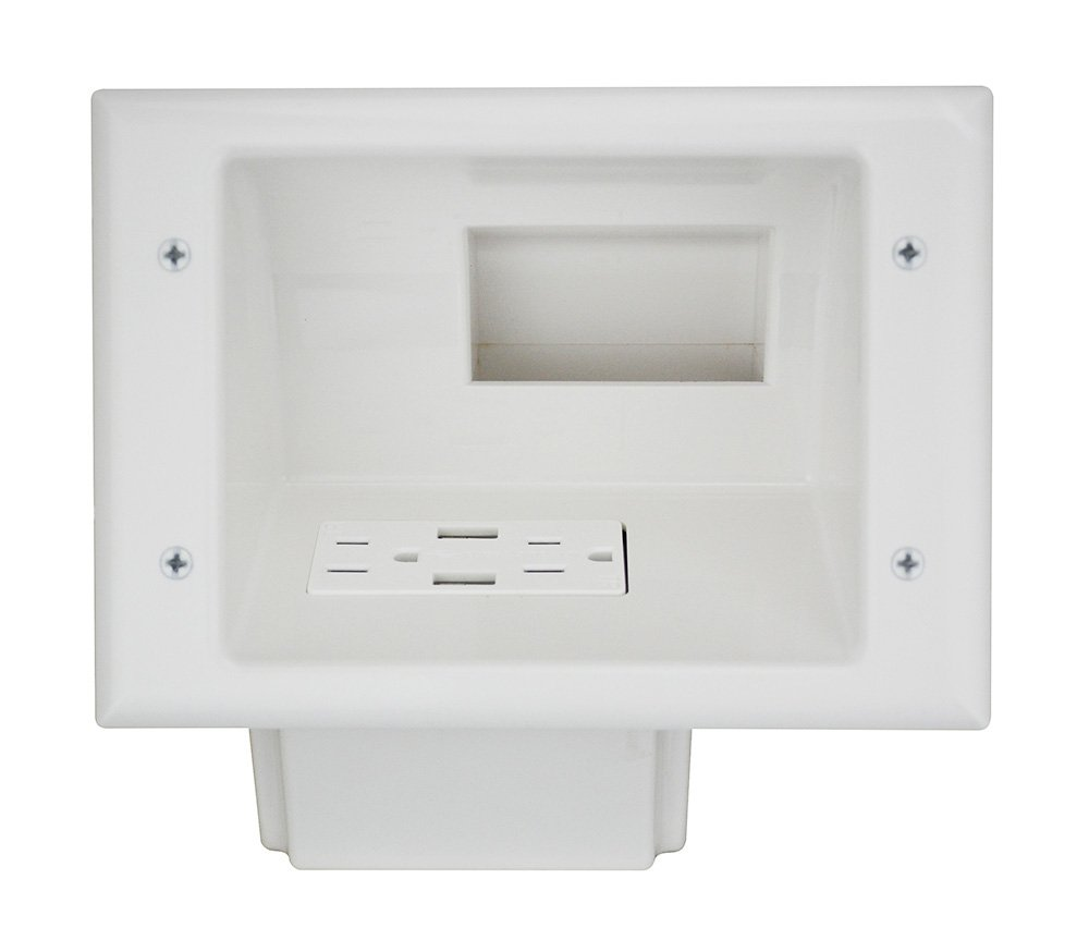 Datacomm Electronics Recessed, White Recessed Low Voltage Mid-Size Plate with Duplex Receptacle and 4.0 Dual USB Ports, (45-0271-WH)