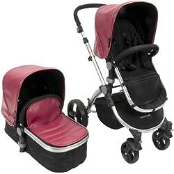 Baby Roues LeTour Lux II RASPBERRY Lightweightt Compact Stroller w/ Bassinet