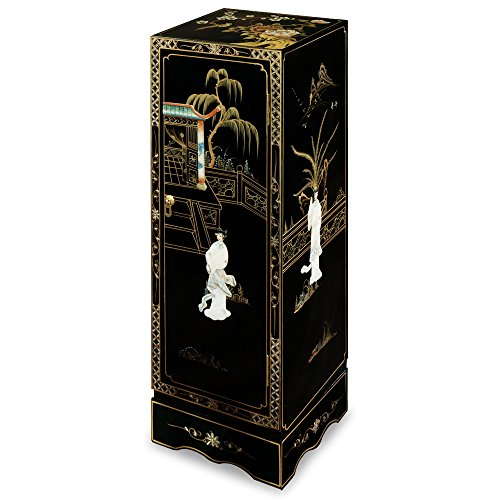 ChinaFurnitureOnline Black Lacquer Pedestal, Hand Painted Scenery with Maiden Mother Pearl Inlay Display Pedestal