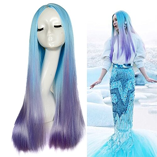 Numberus Long Straight Cosplay Mermaid Wig Synthetic Wigs Blue to Purple Color Middle Part Wigs for Women for Halloween