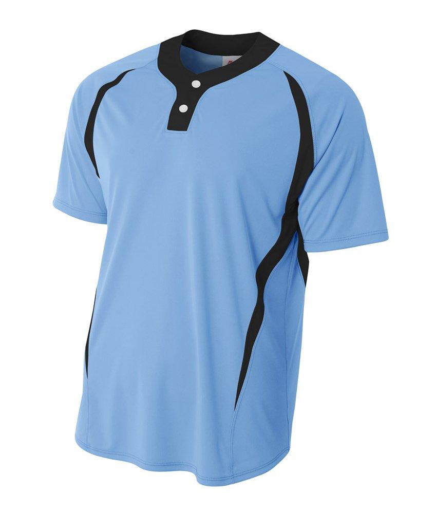 a4メンズ2つボタンカラーブロックBaseball Henleyシャツ B00PWQLMAE L|Light Blue/Black Light Blue/Black L