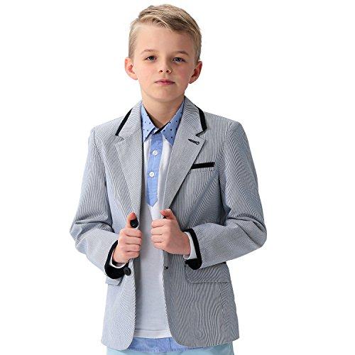 (Leo&Lily Big Boys Kids 100% Cotton Dobby Stripe Blazers Jackets Coat with Lining (5))