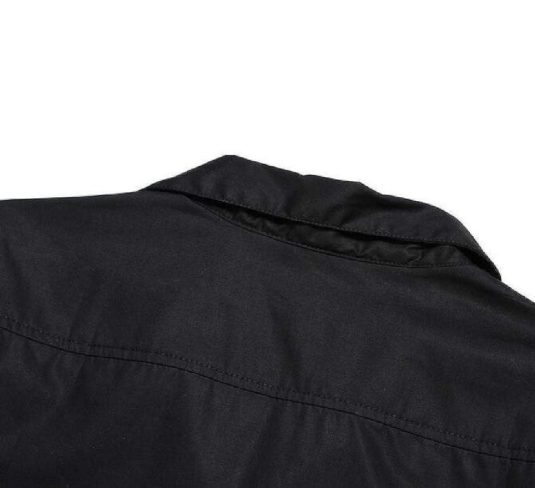 GAGA Mens Business Casual Short Sleeve Color Block Button Down Dress Shirts