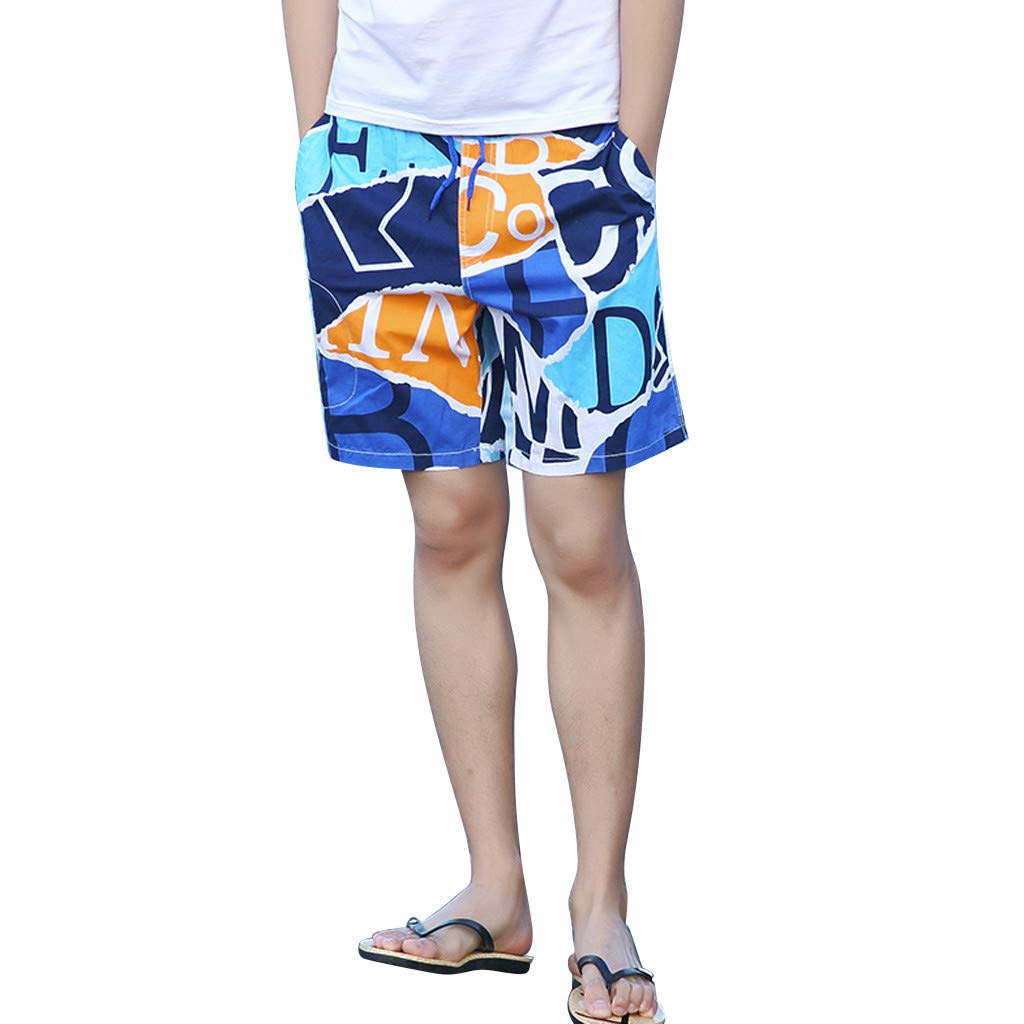 NUWFOR Men's Summer New Cotton Printed Short Sleeves Fashion Loose Size Beach Pants(Blue,US XL Waist:30.71-38.58'') by NUWFOR (Image #1)