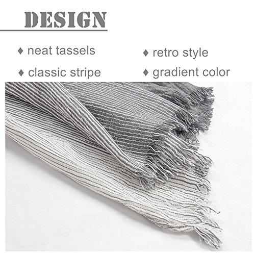 Kalevel Large Scarf Shawl Wrap Cotton Shawls and Wraps with Fringe - Dark Grey by Kalevel (Image #2)