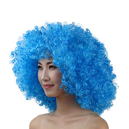 La moriposa Unisex 60s 70s Hippie Style Afro Wig for Halloween Costume Party Disco(Blue)]()