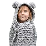 Ecurson Winter Wool Knitted Baby Girls Shawls Hooded Earflap Beanie Scarf Hat Set (Grey)