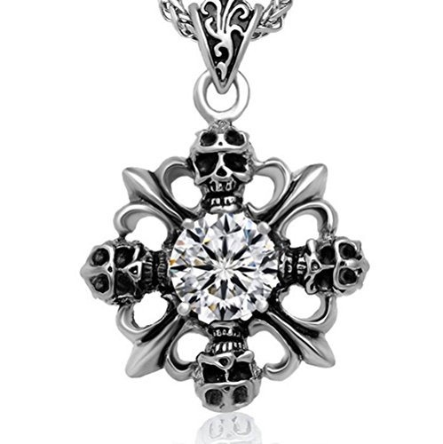 Chrome Hearts skull diamond cross necklace pendant