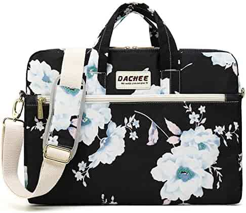 DACHEE White Flowers Pattern 15 inch Canvas Waterproof Laptop Shoulder  Messenger Bag for 14 Inch to15 0388a89db7a7e
