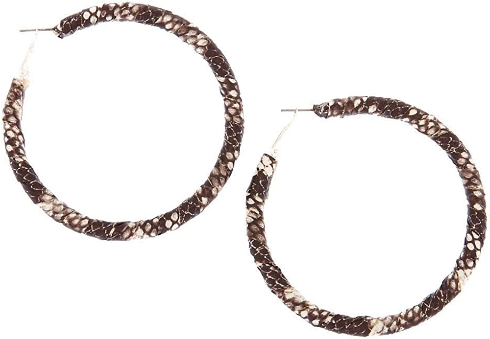 Claires Girls 70MM Snake Skin Wrapped Hoop Earrings Black