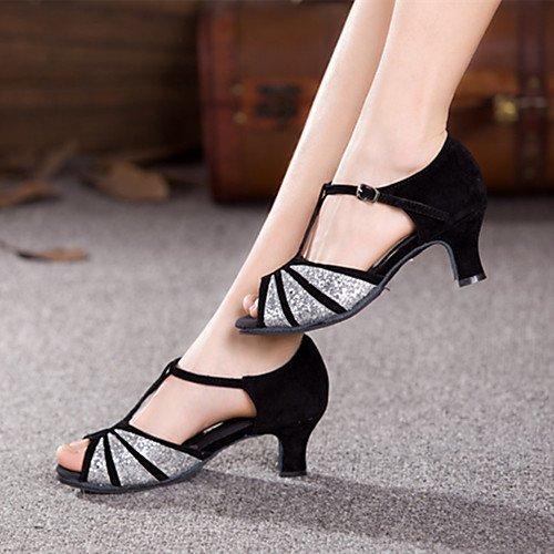 Más Mujer Baile Negro para Q Cubano Negro y Zapatillas Colores y Paillette de Gamuza Dorado T oro T Tacón xwY1HqPw