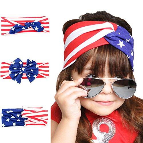 Halloween Costumes Using Bandanas (3 Pcs Baby American Flag Pattern Headbands Turban Knotted Bows Girl's Elastic Hairband Bandana Head Wrap)