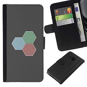 YiPhone /// Tirón de la caja Cartera de cuero con ranuras para tarjetas - Rojo Verde Azul - HTC One M7