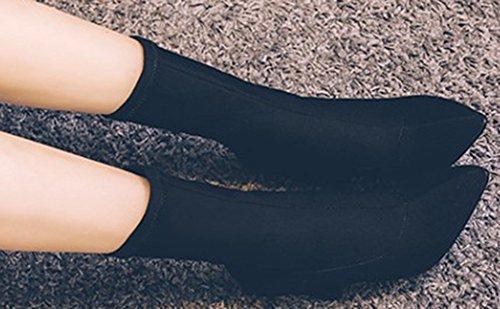 Idifu Moda Donna Con Paillettes Stivali Alti A Punta Alta In Pelle Nera