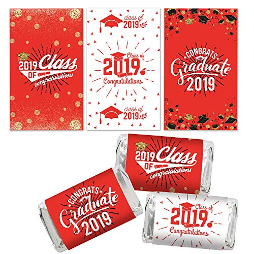 Class of 2019 Graduation Miniatures Candy Bar Wrapper Stickers for Graduation Party Favors (54 Count)
