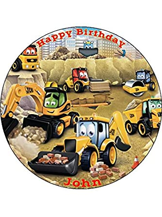 JCB Digger Tractor 75inch Round Personalised Birthday Cake Topper Printed On Icing Amazoncouk Grocery
