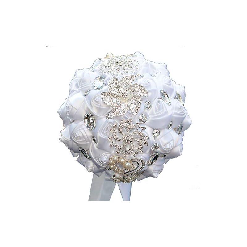 silk flower arrangements dotkv wedding bouquet, artifical rose posy with satin jeweled throw bouquet, bridesmaid holding flowers,wedding bouquets silk flower, wedding memories forever (pure white)