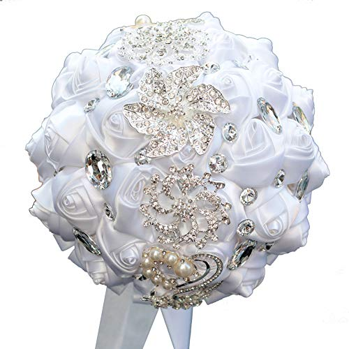 DOTKV Wedding Bouquet, Artifical Rose Posy with Satin