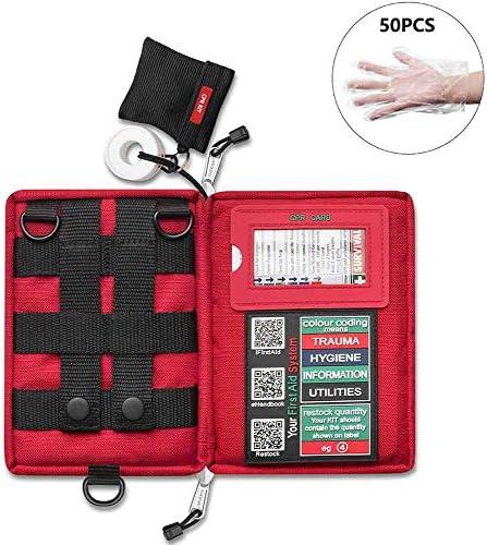 キャンプ、自宅、職場、オフィス、車、キャラバン、旅行用の緊急サバイバル外傷薬保管ケースコンパクト救急箱, Red