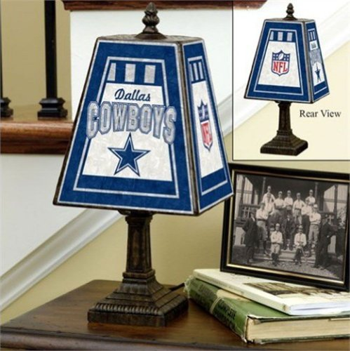 Dallas Cowboys 14-inch Art Glass Table Lamp (Nfl Art Table Lamps Glass)