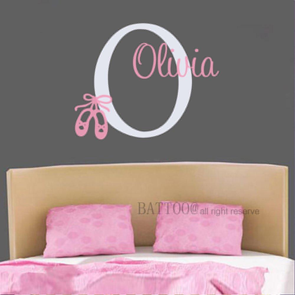 BATTOO Personalized Ballerina Girls Name Wall Decal Ballerina Decal Vinyl Custom Girl Name Ballet Dance Girls Bedroom Baby Nursery Decor 22'' wide by 18'' tall PLUS free hello door decal