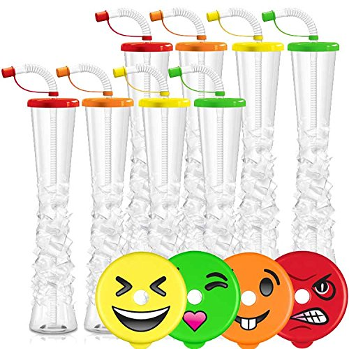 Emoji Ice Yard Cups Party 8-PACK - for Margaritas, Cold Drinks, Frozen Drinks, Kids Parties - 17 oz. (500 ml) - set of 8 Yard Cups. BPA Free and Crack Resistant (Assorted/Random Emojis on lids) by Sweet World