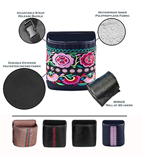- Quality stuff Leak Proof Car Trash Can - Premium Compact 7x7x4 Inches Litter Bin Portable and Collapsible Universal Auto Garbage Can, Fashionable Designs, Waterproof-FREE Liners