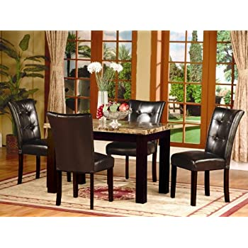 Roundhill Furniture 5 Piece Dark Artificial Marble Top Dinette Dining Set,  Includes Table With