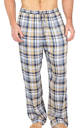 (Men's Woven Plaid PJ Pants - Pajamas in Bamboo Viscose by Texere (Hypnotique, Blue/Gold, Medium) Top Ideas for Him MB0201-1UD-M)