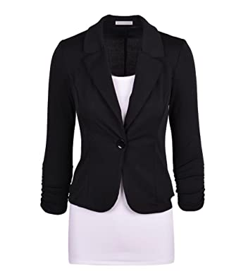 Auliné Collection Women's Casual Work Solid Color Knit Blazer at ...