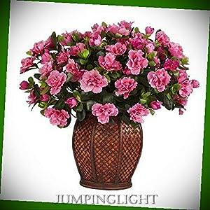 JumpingLight 6653 Azalea with Vase Silk Plant Artificial Flowers Wedding Party Centerpieces Arrangements Bouquets Supplies 100
