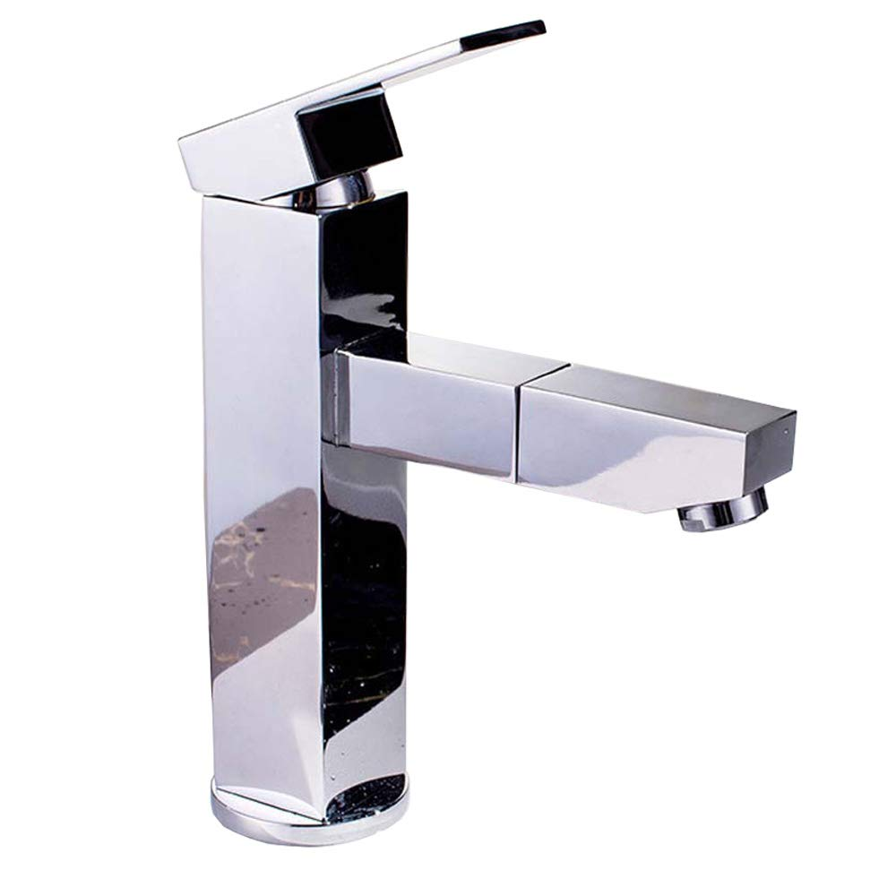 YJZ Single Handle Pull Out Faucet Bathroom Sink Hot And Cold Water Tap Brass Lavatory Faucet,Chrome And Nickel Plating