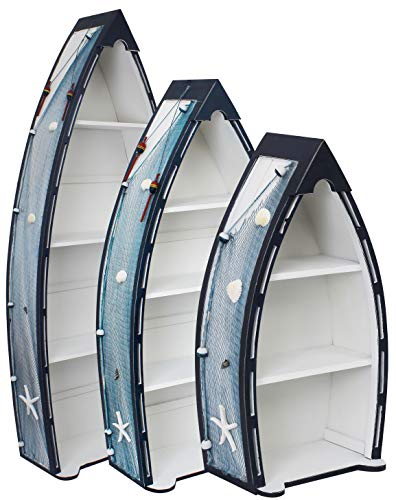 Royal Brands Decorative Wooden Boat Shelves - Large Shelves - Free Standing Shelves - 3 Pieces - White and Blue - Nautical Furniture - Interior Design