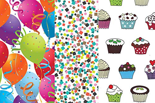 Birthday, Celebration and Party Gift Wrap Tissue Paper for All Occasions. 36-Pack Includes 12 Sheets Each of Party Balloons, Confetti and Cupcake Patterns. Large 20 x 30 Squares, Multi