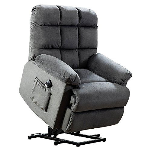 BONZY Lift Recliner Chair With Over Stuffed Armrest and Comfort Broad Backrest-Slate (Steel Microfiber Sofa)