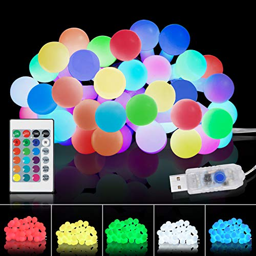 Tesyker String-Lights-for-Bedroom, Ball-Lights Bedroom Lights 20 Ft 40 LEDs Led String Lights Fairy Lights, 16 Colors USB Color Changing Lights with Remote for Dorm Room Xmas Patio Party Porch
