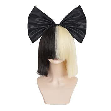 SiYi Half Blonde Black 2 Tone Short Straight Bob Wig Synthetic Full Wigs With Big Bow