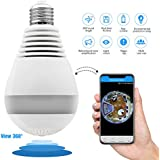 360-degree panoramic 960P smart wireless wifi camera mini LED bulp VR camera 1.3MP home security wifi camera light bulb mini security IP camera 3D LED light HD camera panorama