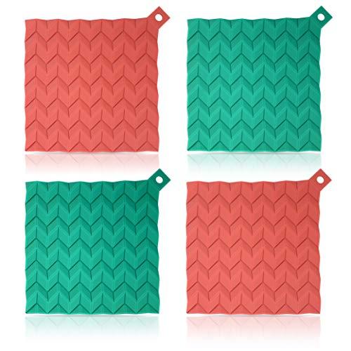 elabo Silicone Pot Holder - Trivet Mat - Hot Pads - Jar Opener - Spoon Rest(Set of 4), Non-Slip, Flexible, Durable, Dishwasher Safe and Heat Resistant(Red/Green)