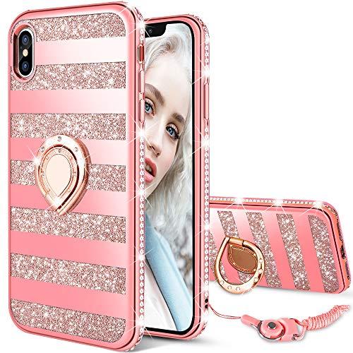 Maxdara Case for iPhone X/iPhone Xs Glitter Case Striped Ring Holder Kickstand Grip Bling Sparkle Diamond Rhinestone Protective Bumper Luxury Pretty Fashion Girls Women Case X/XS 5.8 inch (Rosegold)