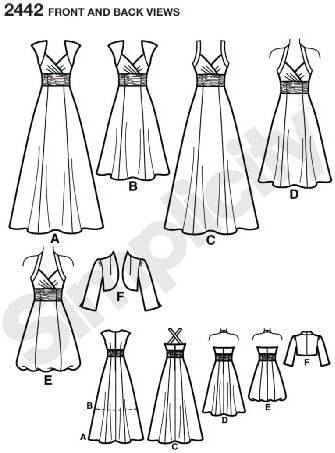 varie taglie Cartamodello per vestiti da sera da donna Simplicity 2442