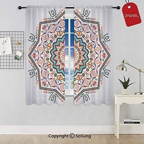 (Abstract Aztec Style Kaleidoscope Themed Boho Ethnic Sun Pattern Art Print Decorative Rod Pocket Sheer Voile Window Curtain Panels for Kids Room,Kitchen,Living Room & Bedroom,2 Panels,Each 52x63 Inch,)