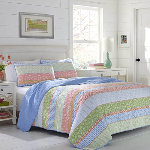 Poppies Quilt Fabric (Poppy & Fritz 220818 Charlie Reverisble Quilt Set,Pink Green,King)