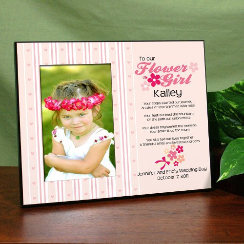 GiftsForYouNow Flower Girl Personalized Printed Frame, Holds A 3.5