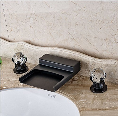 Gowe Widespread LED Waterfall Spout Bathroom Sink&Tub Faucet Oil Rubbed Bronze Deck Mounted Double Handles 3 Holes 4