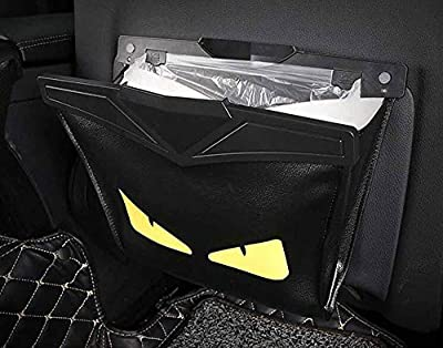 JYXQC Car Trash Bag - Back Seat Organizer - Storage Bag Automotive Interior Seat Compartment Back Leather Bag,Black