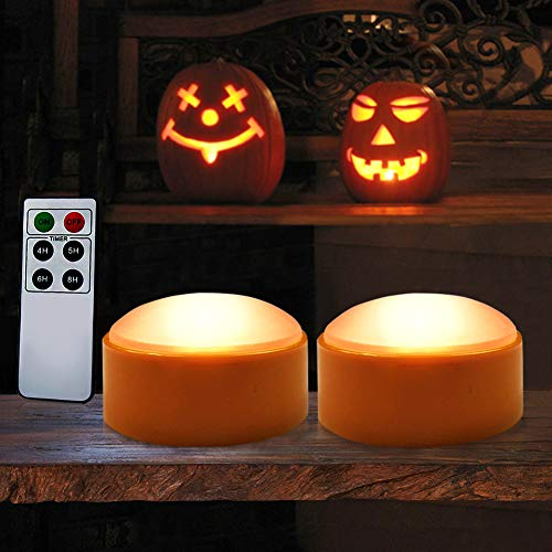 HOME MOST Halloween Pumpkin Lights with Remote and Timers - Orange Pumpkin Lights Battery Operated Halloween Decor - LED Lights Halloween - Jack-O-Lantern LED Lights Halloween Pumpkin Lights Battery