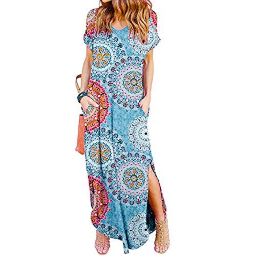 ZOMUSAR 2019 Fashion Women's Casual Loose Pocket Long Dress Short Sleeve Split Maxi Dresses Blue