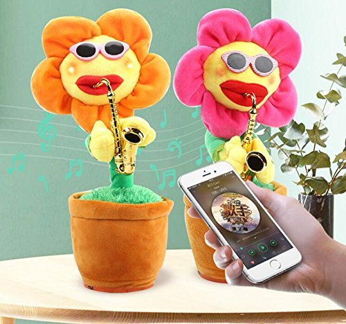 Singing Dancing Saxophone Sunflower Soft Plush Potted Funny Creative electric Toys Stuffed Toy Animated Dancing Flower Doll Light Music Funny toys (Random Color) (Dolls Christmas Animated)