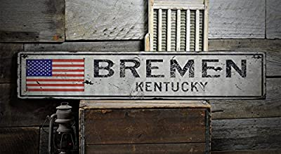 BREMEN, KENTUCKY - Rustic Hand-Made Vintage Wooden Sign - US Flag